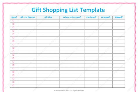 shopping list template gift list template word dotxes