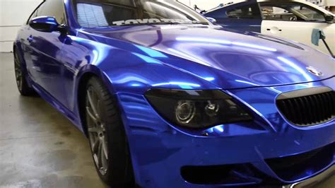 Ac Aqua 3 4 bmw m6 wrapped in blue chrome with door jams by