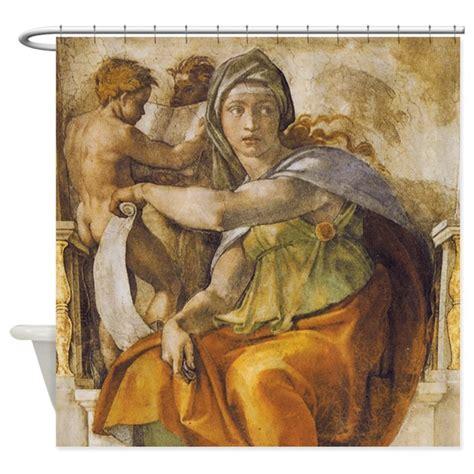 michelangelo drapery michelangelo delphic sibyl shower curtain by iloveyou1