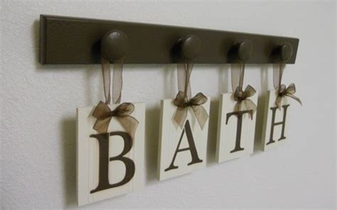 bath sign custom hanging letters brown ribbon wall letters