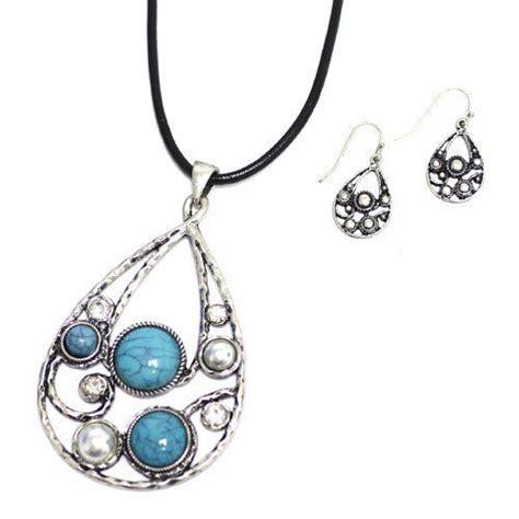 clear silver l cord tear shape pendant necklace set 18 quot l black cord chain