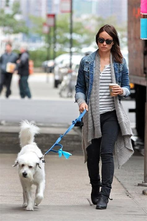 olivia wilde coffee run with paco 04 view image us actress olivia wilde wearing a diesel denim jacket in
