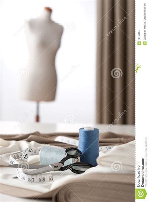 fashion design equipment fashion designer studio with mannequin royalty free stock