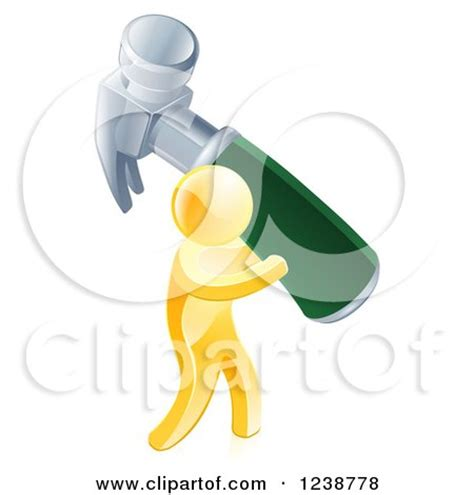clipart of a 3d gold man carrying a giant hammer royalty