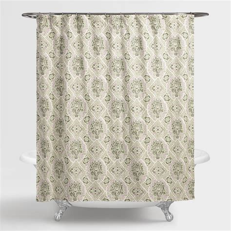 cost plus world market helsinki tile shower curtain green