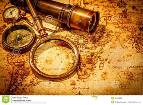 old world tattoo vintage magnifying glass lies ancient world map compass
