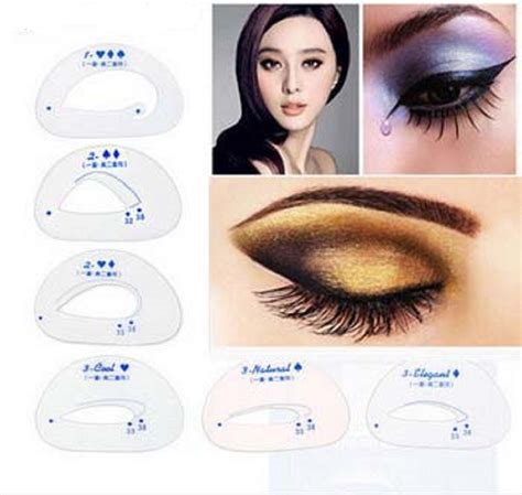 eyeshadow eyeliner grooming shaping template stencil card 6pcs eyeshadow stencil eye shadow grooming