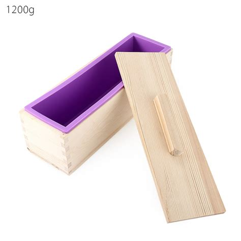 With Cover Diy Mold rectangular diy handmade silicone soap crafts mold wooden