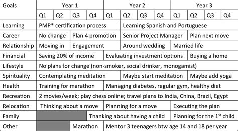 five year life plan template plan template