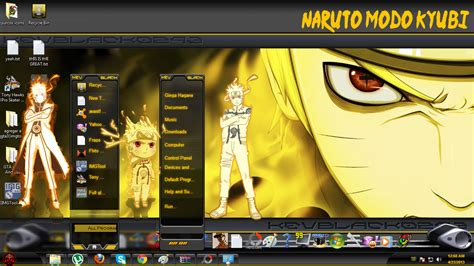 themes in naruto lightuzumaki naruto kyubi yellow theme for windows 7