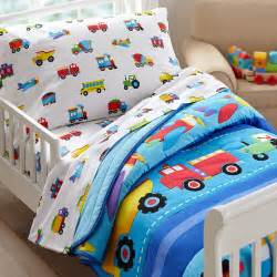 Toddler Bed Comforter Boy Trains Airplanes Trucks Toddler Boy Bedding 4pc Bed