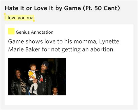 hate it or love it the game i love you ma hate it or love it by game
