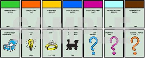 monopoly card template personalized player place cards monopoly themed