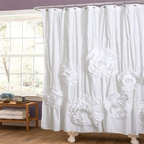 White Ruffle Curtains Ruffle Shower Curtain A Touch Of For Your Bathroom
