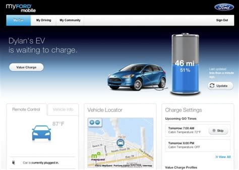2012 ford focus electric smartphone app website goes live