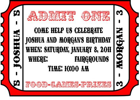 circus ticket template free carnival invitations