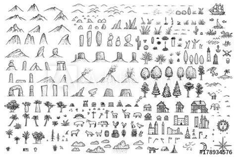 fantasy map elements illustration drawing engraving ink