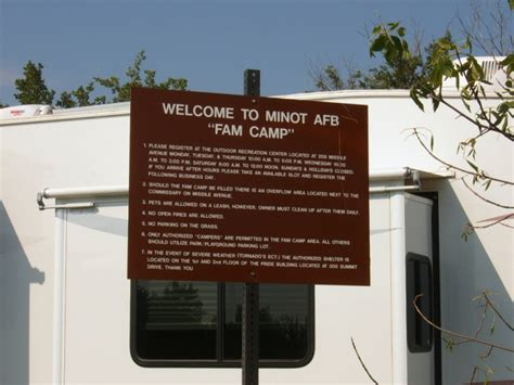 military campgrounds  rv parks minot afb famcamp