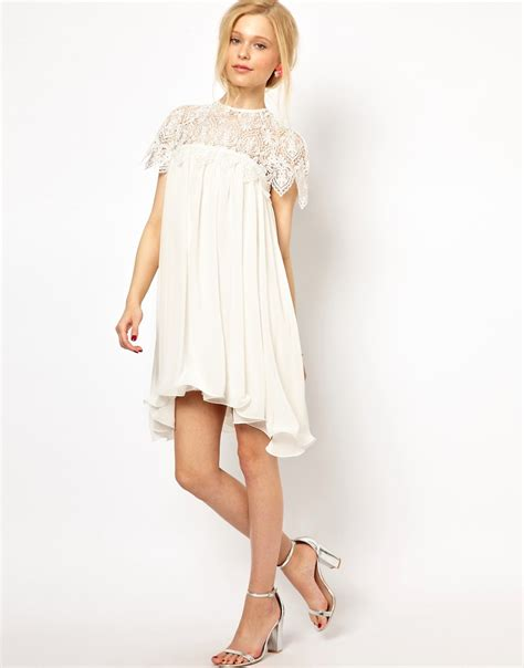 lace swing dress lydia bright lydia bright swing dress with lace top at asos