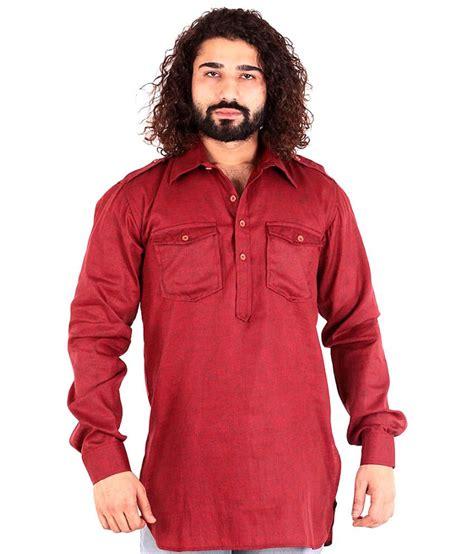 maroon g the g street maroon cotton blend medium full sleeved kurta