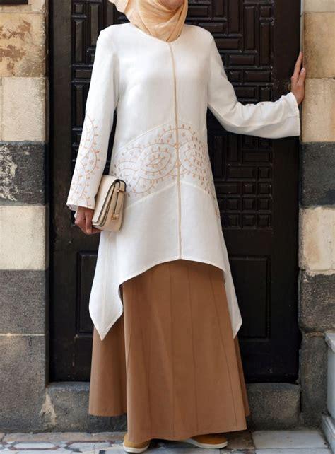 Dress Baju Tenun Elegan Limited fashion 2016 2017 pair with a skirt for an eid look soreya embroidered tunic