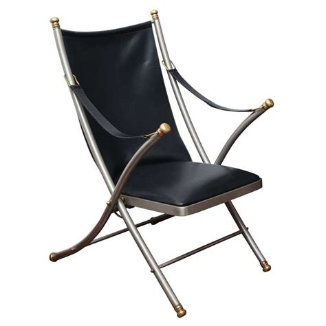 leather folding chair black leather folding caign chair by maison jansen at