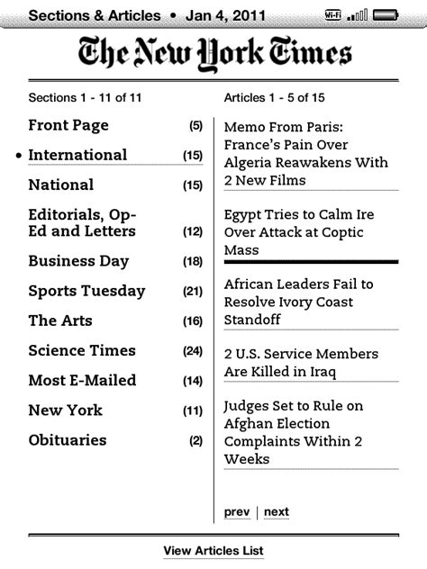sections in newspapers kindle update 3 1 newspaper and magazine layout improved