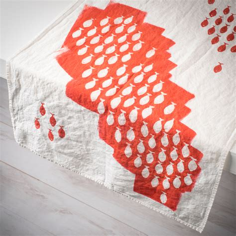 coral table runners painted coral linen table runner sardines