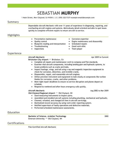 Mechanic Resume Template by Best Aircraft Mechanic Resume Exle Livecareer