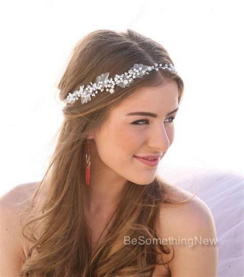 Jeweled Beaded Hair Tie pearl and rhinestone wedding hair vine bridal hair