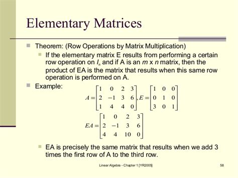 Elementary Matrix Algebra matrices and algbra