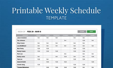 schedule of work template free printable weekly work schedule template for employee