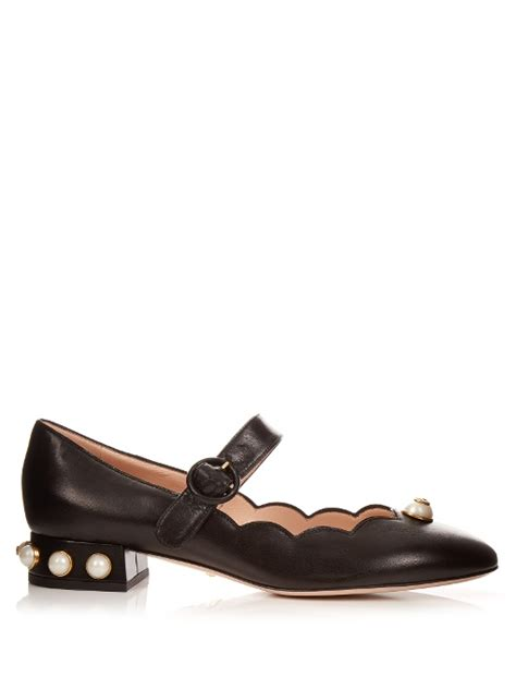 Faux Pearl Pumps gucci willow faux pearl embellished leather ballet pumps