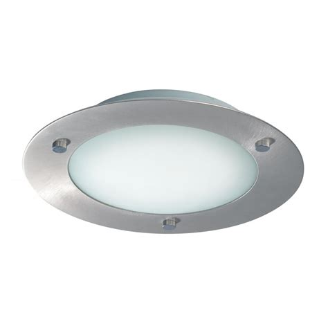 Lighting Ceiling 540 20bs Modern Flush Fitting Brushed Steel Ceiling Light