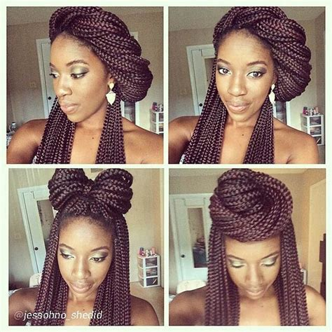 ways you can put braid weave in a donut bun 50 box braids hairstyles that turn heads stayglam