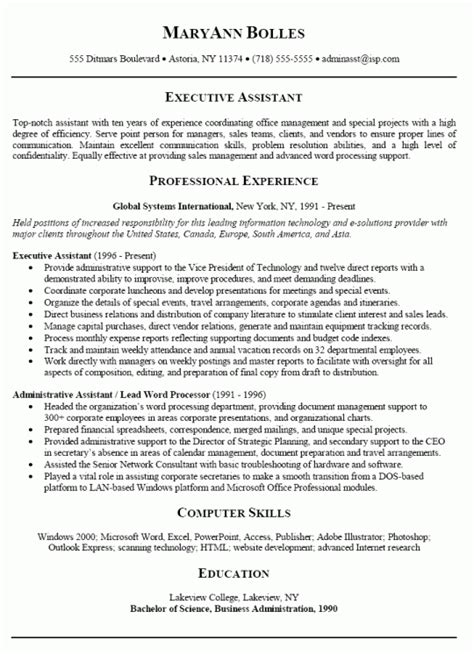 executive assistant sle resume resume sles administrative 28 images resume sles