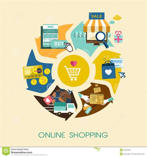 design online marketplace online shopping process concept in flat design stock