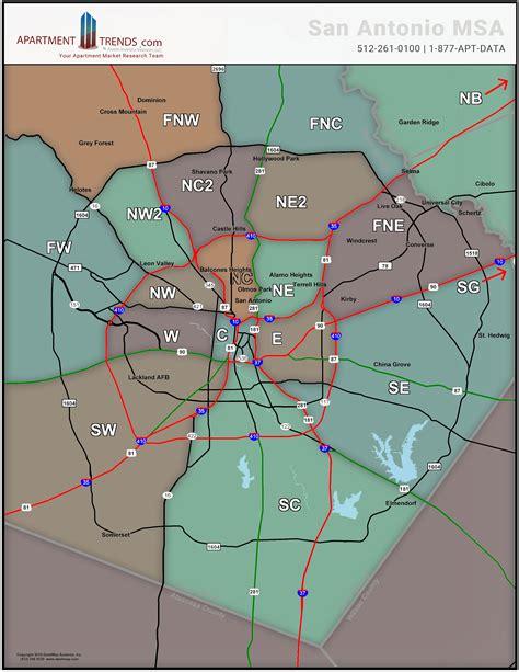texas msa map map showing real estate submarkets for san antonio texas msa