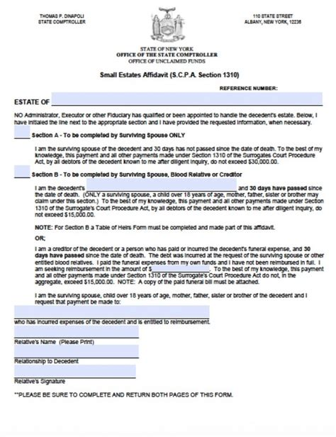 nys will template free new york small estate affidavit form pdf
