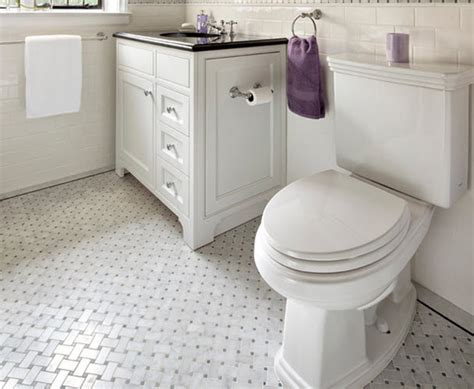 White Bathroom Floor Tile Ideas by Black And White Bathrooms String Scissors