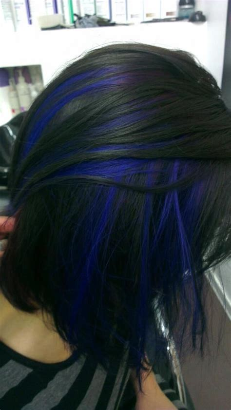 black and blue hair color black with peekaboo blue hair colors ideas