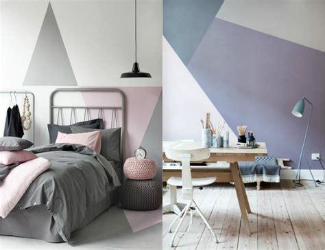 Merveilleux Chambre Ado Bleu Gris #1: peinture-decorative-dessin-geometrique-abstrait-triangles-couler-gris-rose.jpg