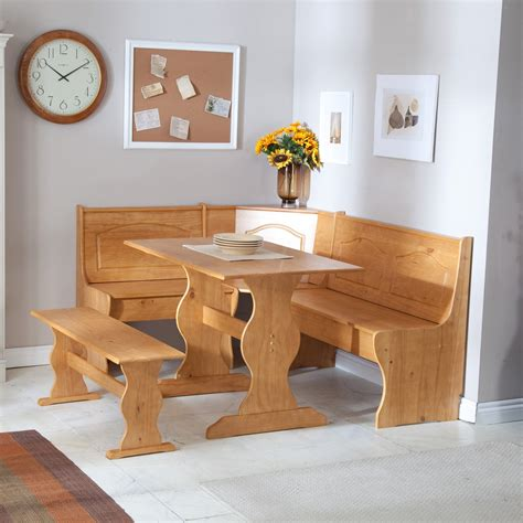 Kitchen Nook Furniture by Linon Chelsea Breakfast Corner Nook Dining Table Sets At Hayneedle
