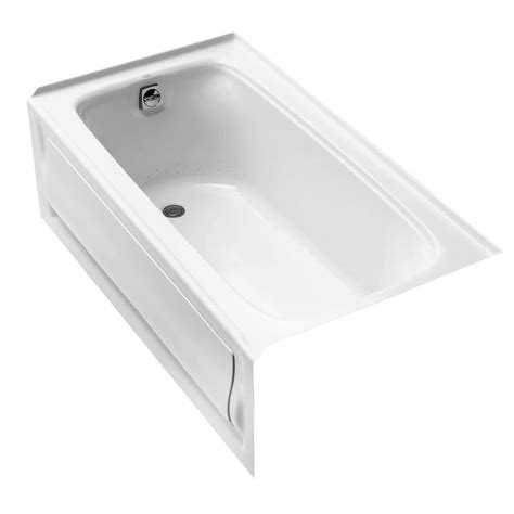 kohler bathtub kohler bancroft bubblemassage acrylic left drain rectangular alcove whirlpool bathtub