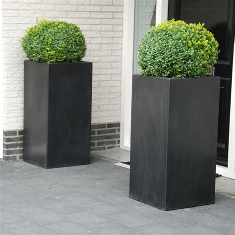 Fibreglass Planters by Lightweight Fibreglass Garden Planter Adezz Buxus High Cube Square Black Chic
