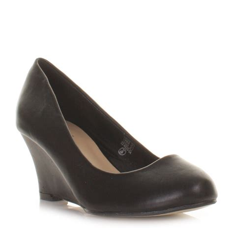 womens black leather style smart mid wedge heel
