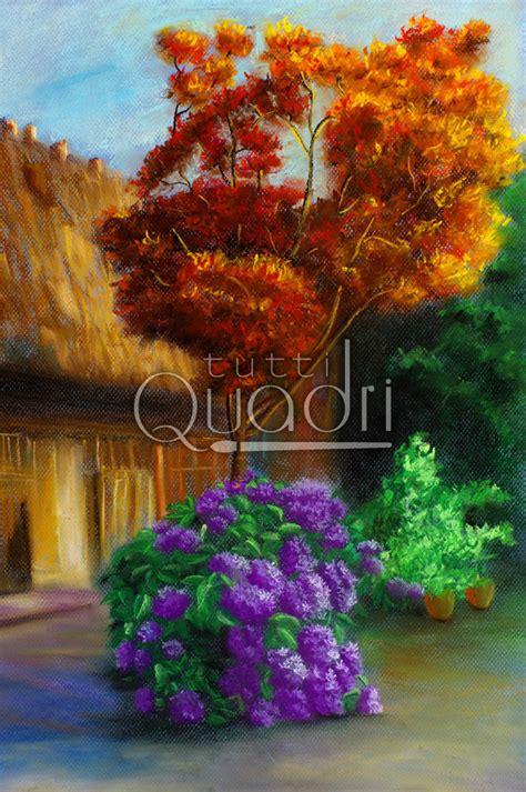 giardino fiorito quadro di giardino fiorito paesaggio dipinto a olio in