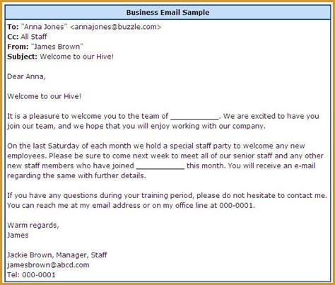format email content proper email format free business template