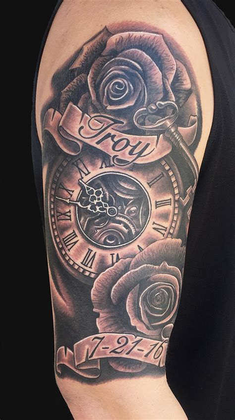 memorial quarter sleeve tattoo memorial black ink clock with roses and banner tattoo on