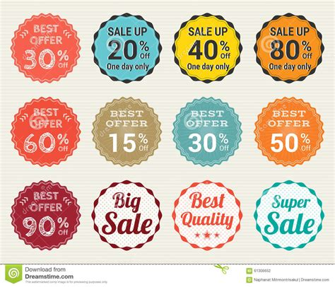 2 Color Sale Retro Promotion Brand Business - set of retro promotion discount sale and guarantee tag